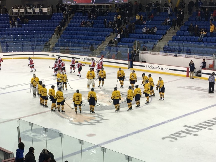6a14eea8d Quinnipiac getting ready to salute fans after 4-1 win over RPI (photo  copyright BobcatsHockeyBlog)