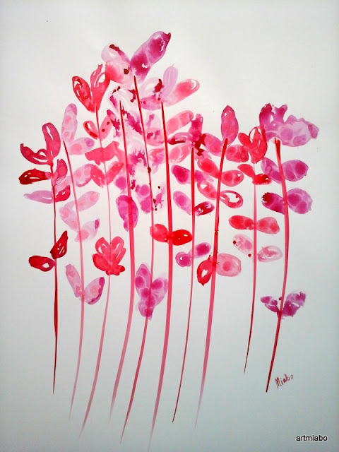 FLOWER ABSTRACT ART, WALL ART,  INK ON PAPER BOARD,  MIABO ENYADIKE.