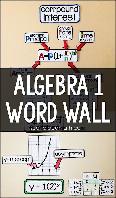 This algebra word wall started as a way to help my students link nonlinear functions back to what they learned in algebra. Over the years it has morphed into a supplement for an algebra curriculum, showing algebra 1 topics in action through visual examples and pictures. I have heard from so many algebra teachers how presenting the vocabulary this way has been helpful for their visual and English language learners. This algebra word wall now includes a link to a virtual algebra word wall on GOOGLE Slides. You can add furniture and your own bitmoji to the virtual classroom to make it your own.