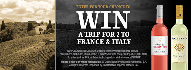 Enter daily to win a week long trip for two to France and Italy! See the sights in Paris, Bordeaux, Rome and Florence, complete with VIP winery tours, all courtesy of Mouton Cadet and Ruffino!