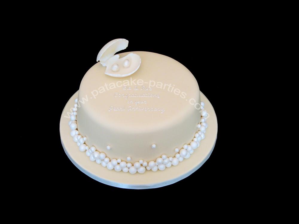 Pearl Wedding Anniversary Gift Ideas: Pat-a-Cake Parties: Pearl Wedding Anniversary Cake