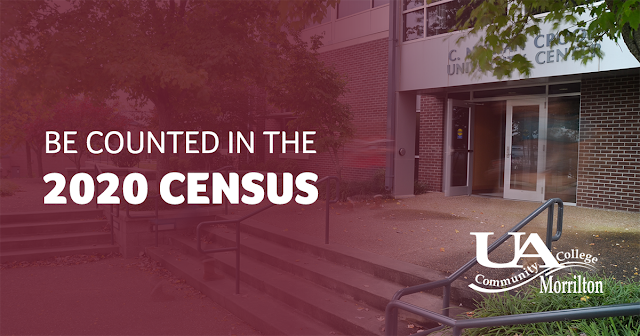 """Image of University Center building with text, """"Be Counted in the 2020 Census"""""""