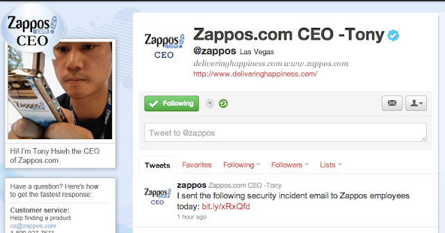Zappos a division of Amazon got Hacked