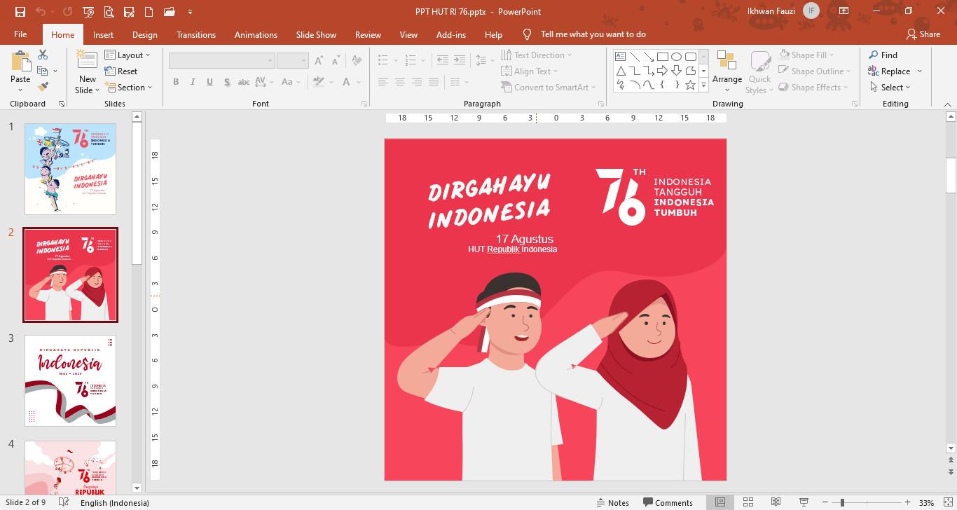 Template Powerpoint Poster Gambar Ucapan HUT RI Ke-76
