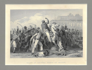 "Battle scene described below captioned ""Death of Colonel Finnis at Meerut"""