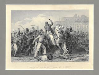 """Battle scene described below captioned """"Death of Colonel Finnis at Meerut"""""""