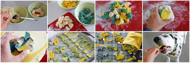 Step-by-step how to make marbled green and gold St. Patrick's Day baked dog treats
