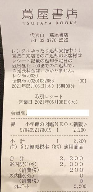 代官山 蔦屋書店 2021/5/6 のレシート