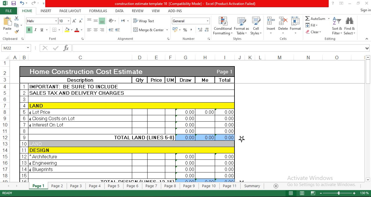 Home Construction Cost Estimate Template in Excel