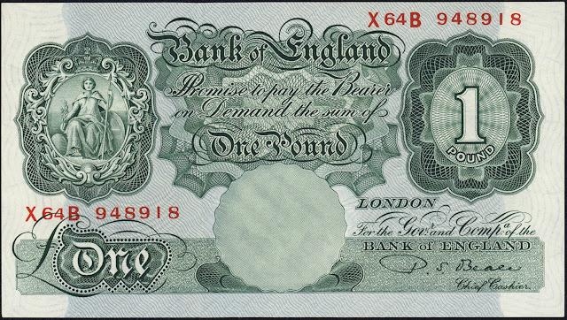 Great Britain One Pound Note 1949 Britannia
