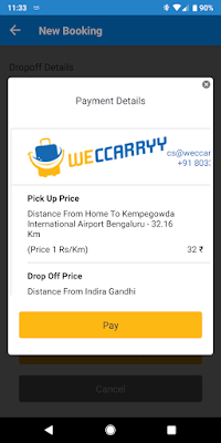 WeCcarryy Payment Screen