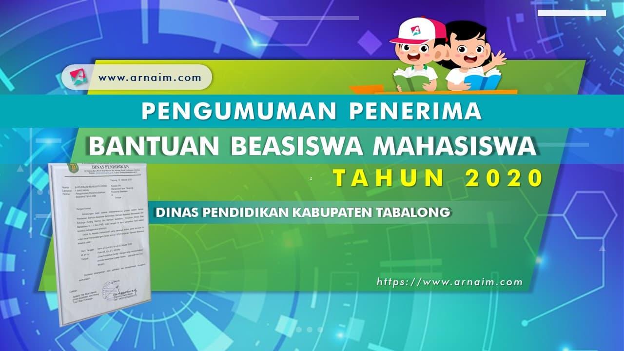 ARNAIM.COM - DAFTAR PENERIMA BANTUAN BEASISWA MAHASISWA TAHUN 2020