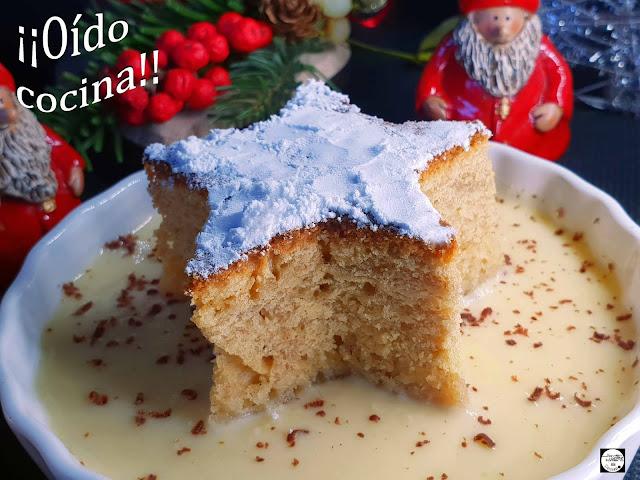 Bizcocho de canela con crema inglesa (Postre de Navidad)