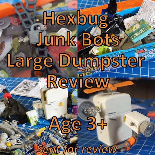 Hexbug Junk Bots Large Dumpster review collage of photos from post