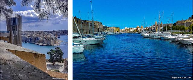 Malta: elevador panorâmico que liga o cais de Valeta aos Upper Barrakka Gardens e a travessia de ferry entre Senglea e Valeta