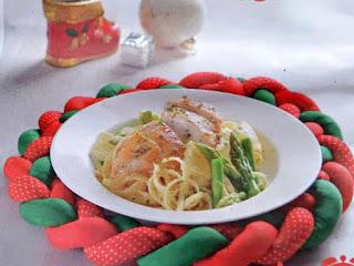 Gambar Resep Linguine Pasta Asparagus Lemon Ayam Panggang