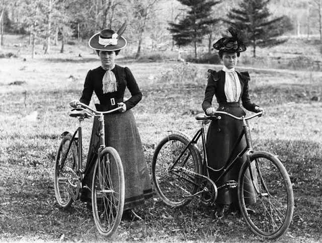 Victorian New Woman liberated with new clothing and bicycles
