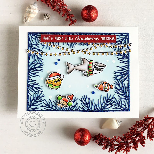 Sunny Studio Stamps: Christmas Garland Frame Dies Merry Mice Scenic Route Best Fishes Christmas Card by Candice Fisher