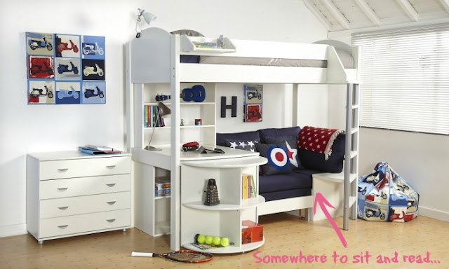 My New Bed Wishlist | Morgan's Milieu: Loft bed with desk, bookshelves and a seat too. The perfect bed for our six year old.