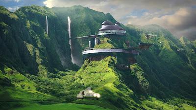 Mansión del futuro sobre montaña verde con cascadas