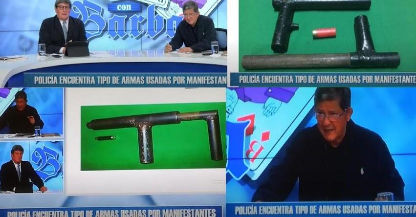 Programa «Rey con Barba» usan fotos falsas de armas hechizas para desacreditar masiva protestas en Lima [VIDEO]