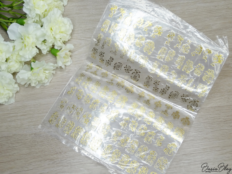 AliExpress haul, zakupy z AliExpress, ozdoby do paznokci, gadżety, naklejki 3d złote srebrne, 3d nail stickers gold silver
