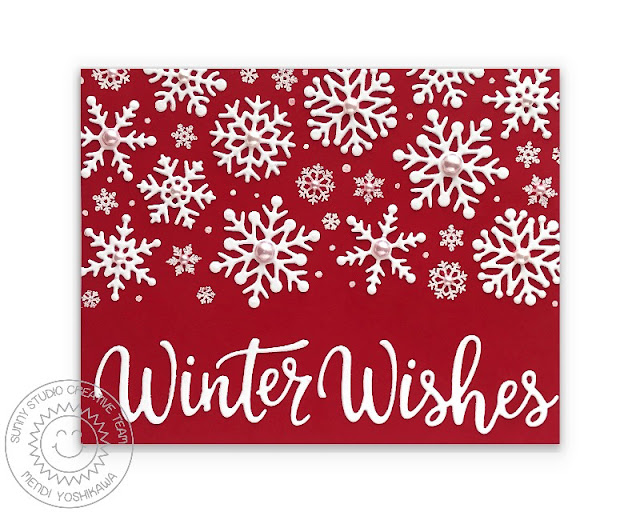 Sunny Studio Red & White Winter Wishes Holiday Christmas Card (using Lacy Snowflakes Die, Layered Snowflake Frame Dies & Deck The Halls Stamps)