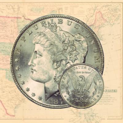 vuoden 1879 morgan hopea dollari ja usa kartta