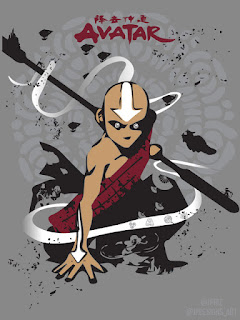 Graphic design art of Aang from Avatar: The Last Airbender