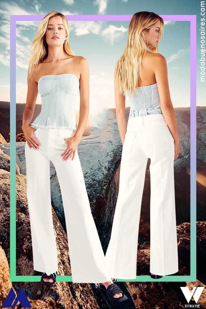 pantalones anchos blancos de jeans verano 2022 mujer