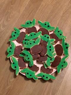 plate of baby yoda sugar cookies