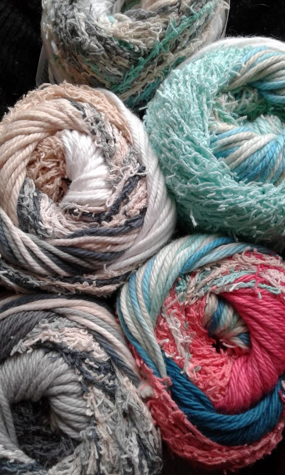 close up of scrub off yarn