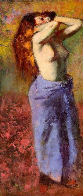 Эдгар Дега - Женщина в голубом с обнаженным торсом (1887-1890)