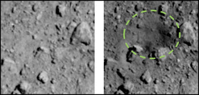 These images were captured by the Optical Navigation Camera - Telescopic onboard Hayabusa2. By comparing the two images, JAXA has confirmed that an artificial crater was created in the area surrounded by dotted lines. The size and depth of the crater are now under analysis.  Image credit: JAXA, The University of Tokyo, Kochi University, Rikkyo University, Nagoya University, Chiba Institute of Technology, Meiji University, The University of Aizu, AIST