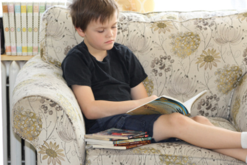 Young boy reading a chapter book