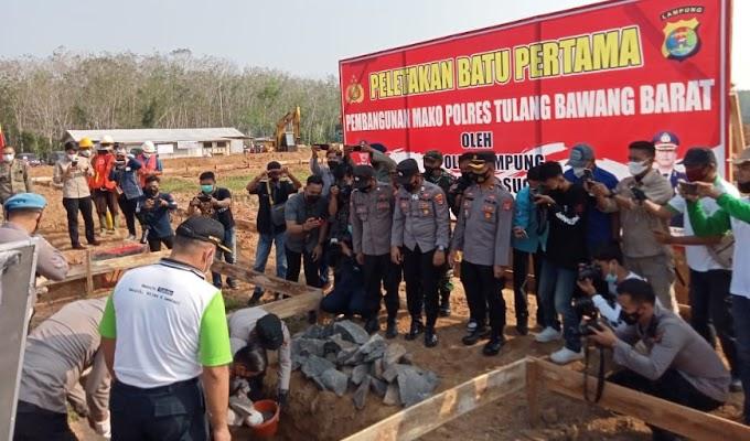 Kapolda Lampung Letakkan Batu Pertama Pembangunan Mako Polres Tubaba