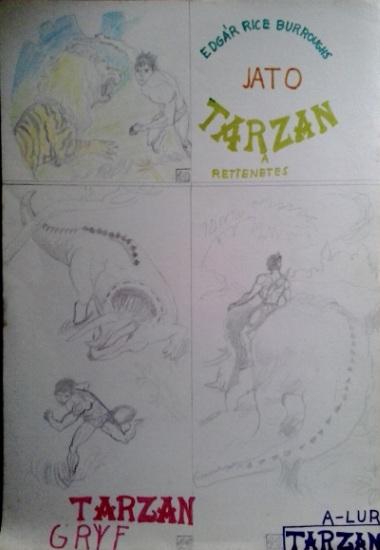 Tarzan a rettenetes saját rajz könyvből lerajzolva