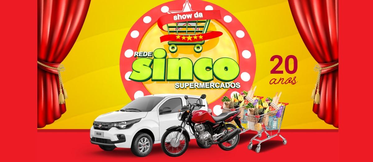 Promoção Aniversário Sinco Supermercados 20 Anos - Carro, Moto e Vales-Compras