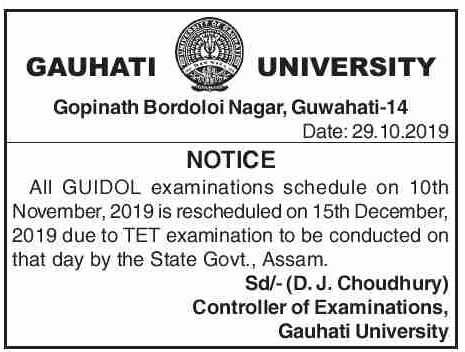 GU IDOL Exam on 10th November rescheduled due to Assam TET Exam