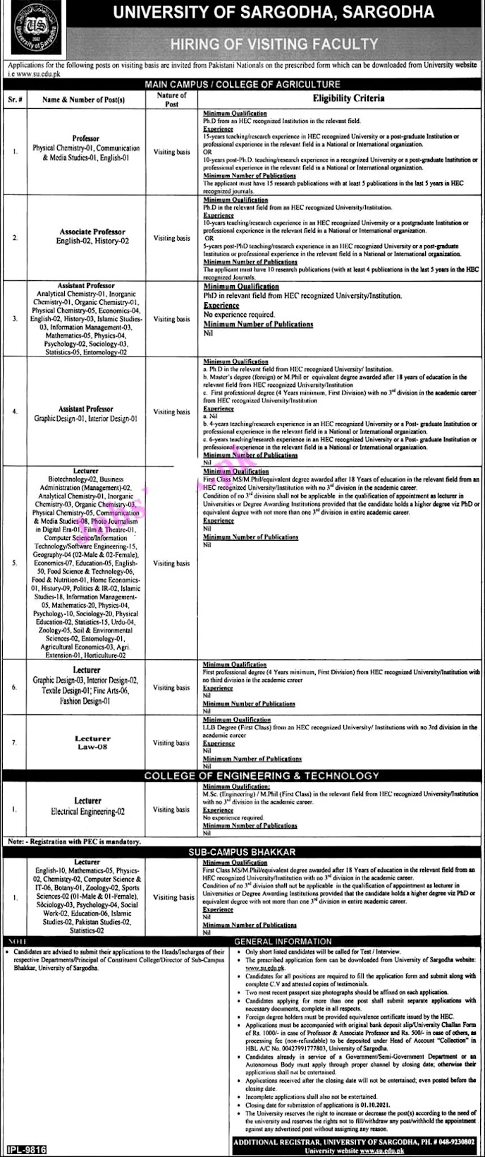 University of Sargodha UOS Latest Jobs 2021 – Application Form www.su.edu.pk