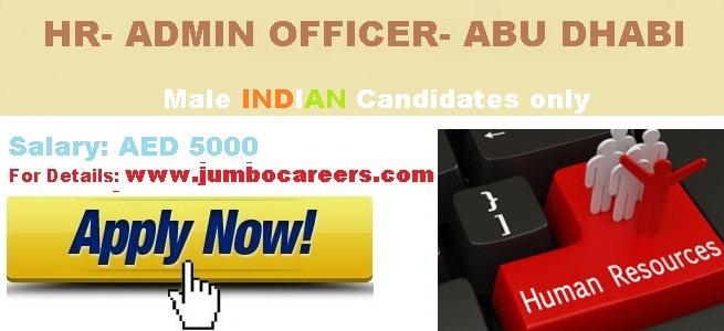 HR & Admin Officer Job Vacancy for Abu Dhabi UAE 2018