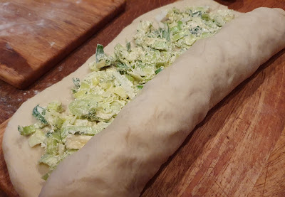 leek and garlic twist bread recipe rolling dough