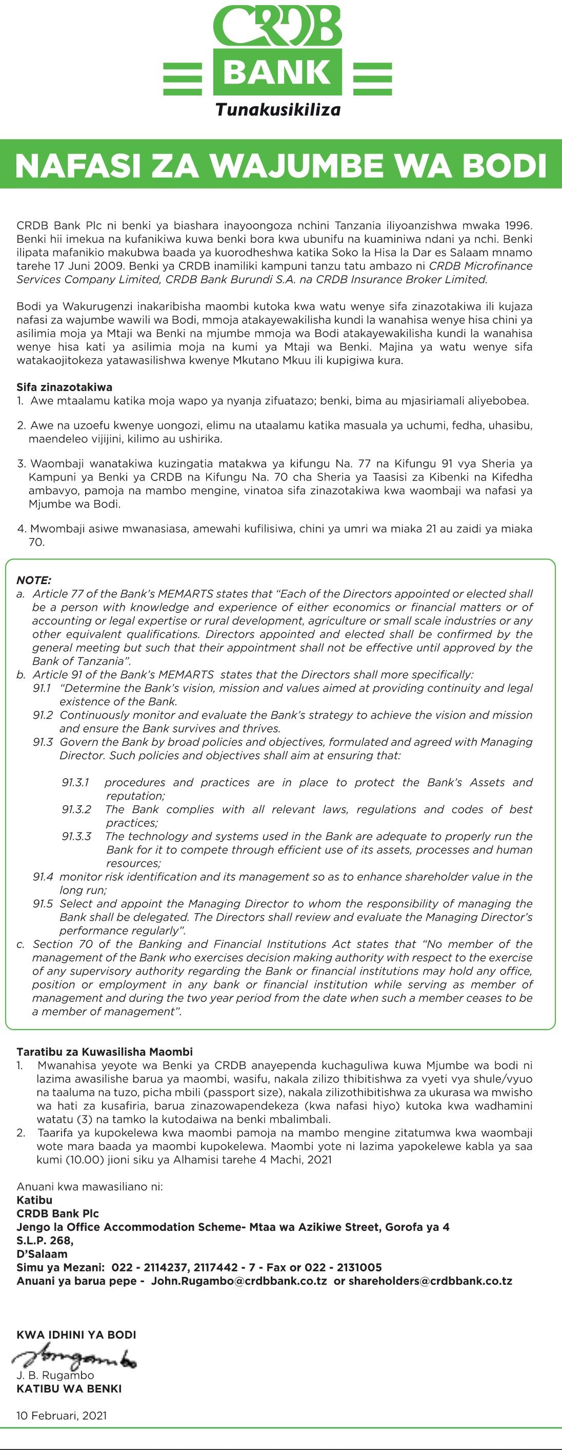 Jobs at CRDB Bank at February 2021