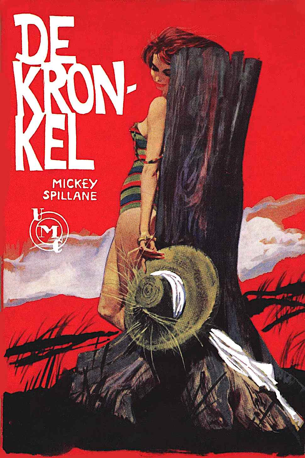 a Robert McGinnis 1966 book cover illustration for Mickey Spillane's De Kronkel, a sexy beach woman with red sky