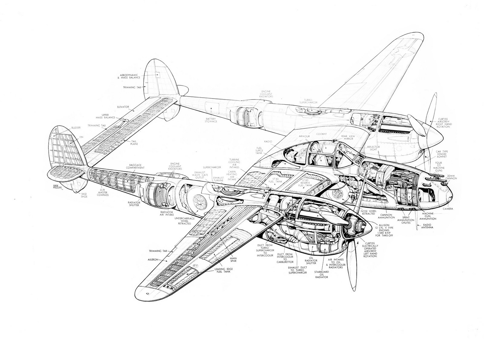 Lockheed P 38 Lightning Schematics, Lockheed, Free Engine