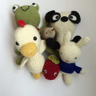 Collection of crochet toys