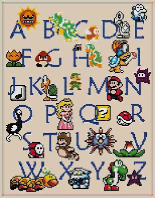 Abecedario de Super Mario Bros para Punto de Cruz. Super Mario Bros Cross Stitch Letters.