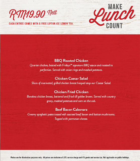 TGI Fridays Lunch Menu Promo
