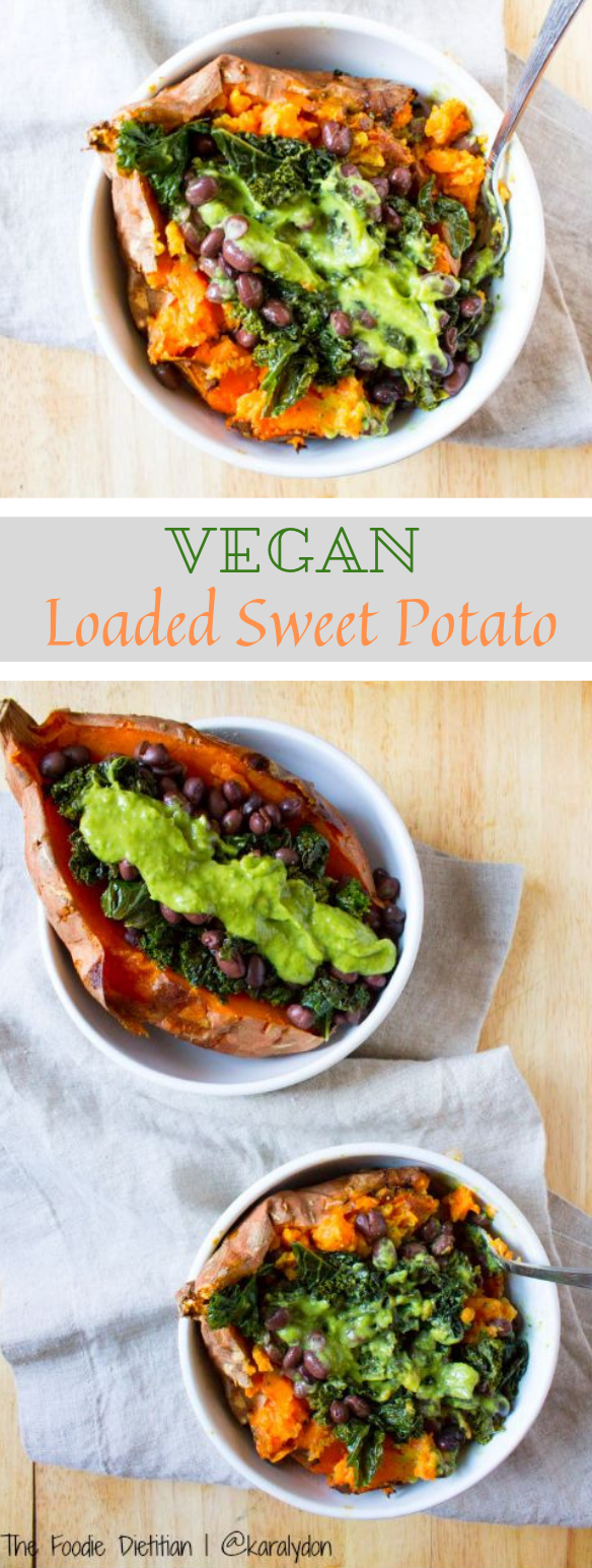 Vegan Loaded Sweet Potato #vegetarian #vegan