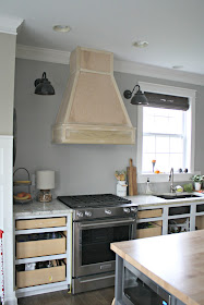 wood vent hood with stainless steel underneath
